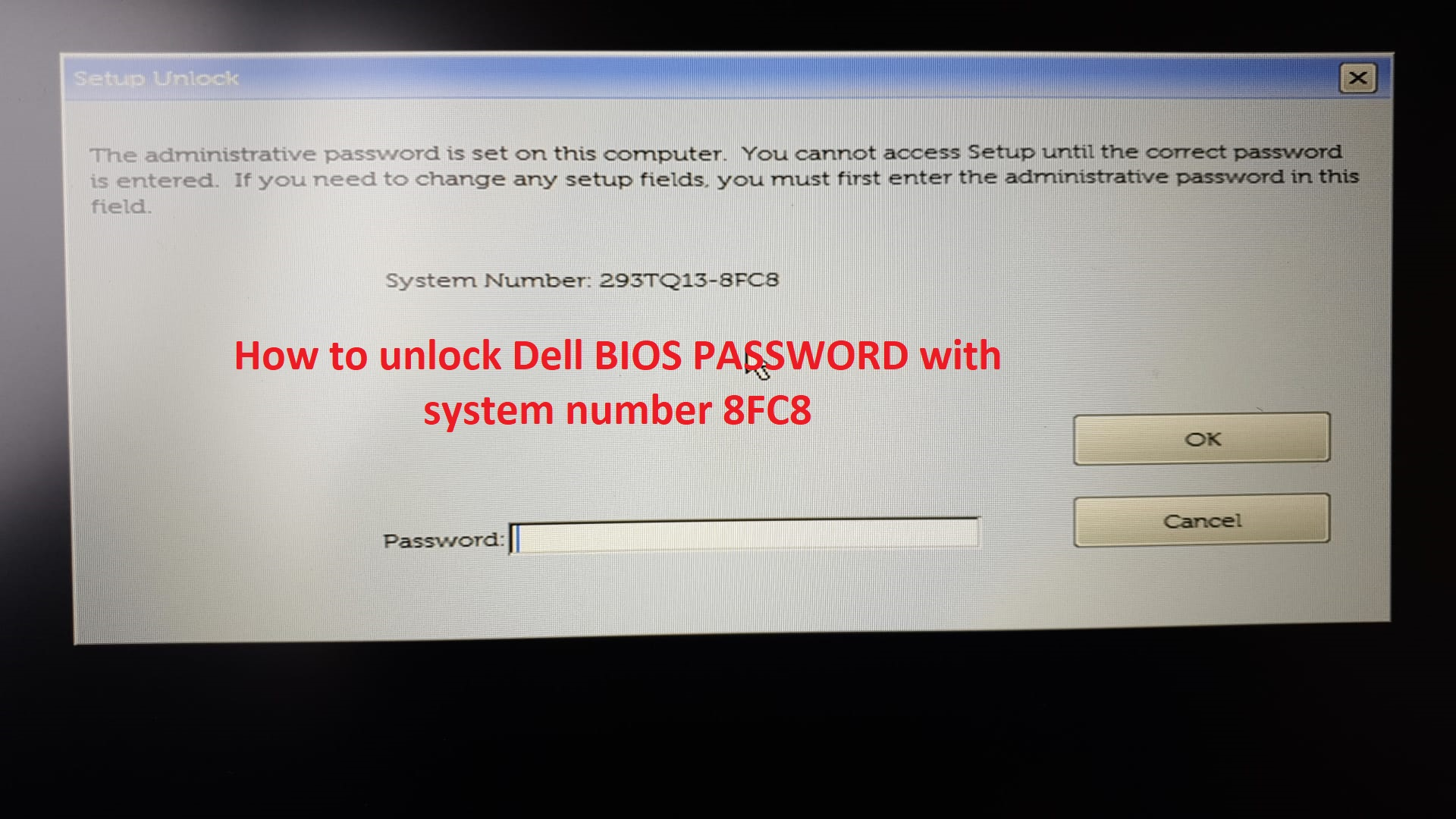 Unlock dell bios password